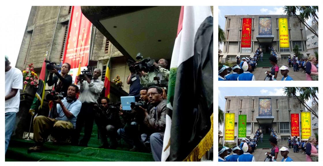 À gauche : jour de l'inauguration. À droite : photos-montages fournis pour l'installation des kakémonos