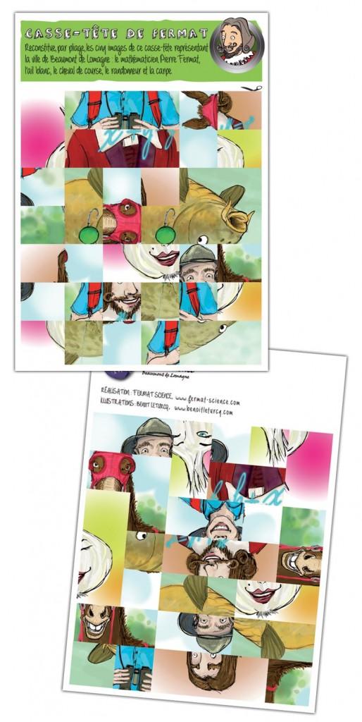 Recto et verso de la planche à plier pour recomposer les images