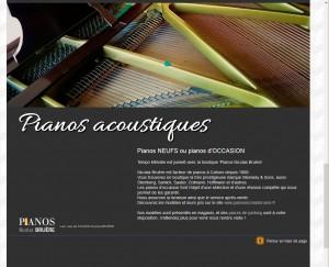 Page de présentation des pianos acoustiques