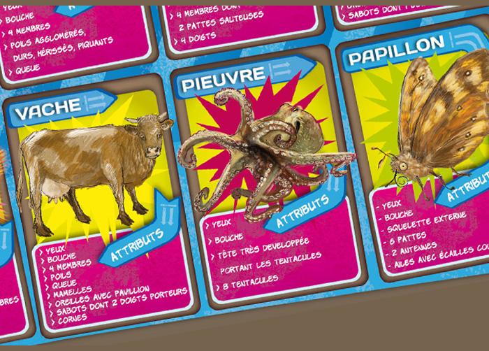 """Plateau du jeu """"Qui est-ce ?"""" de la malle pédagogique les animaux en boite. Fragment 3."""