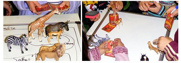 Photos du jeu manipulé par des élèves de primaire.