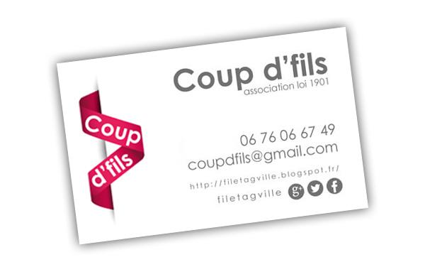 exploitation du logo de l'association Coup d'fils sur une carte de visite