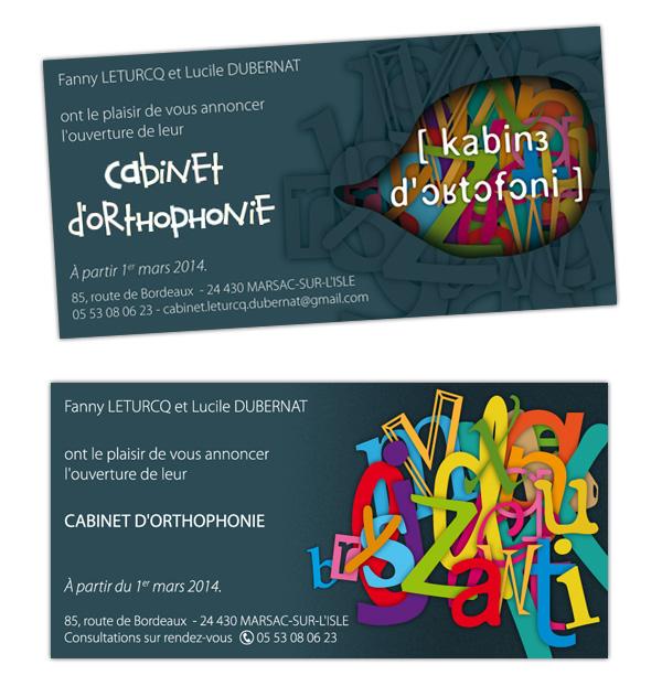 Carton d'inauguration du cabinet d'orthophonie à Marsac-sur-l'isle (24)