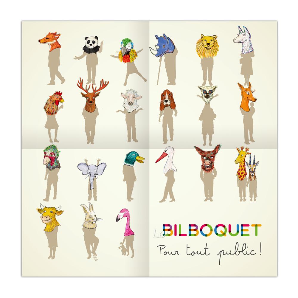 Posteur 30x30 cm à l'intérieur de la plaquette de présentation de l'association Le  Bilboquet