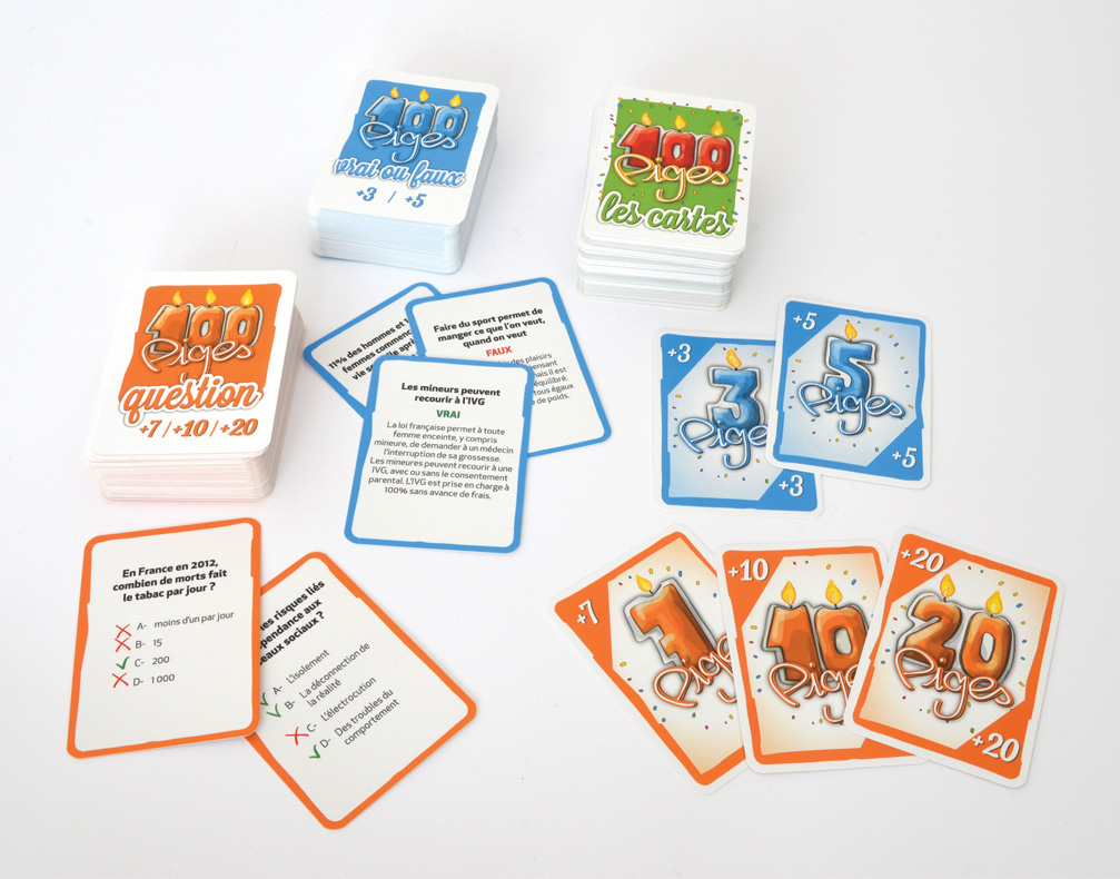 "100 piges, cartes ""âges"" et cartes questions"