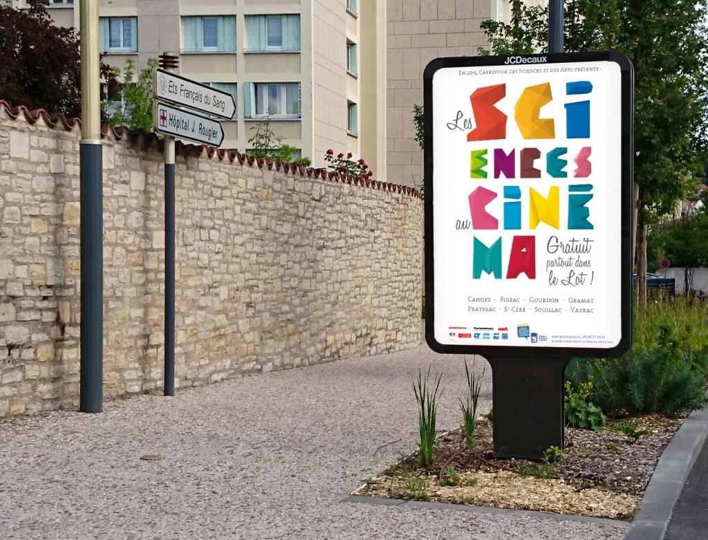 À Cahors, affiche Decaux, Les sciences au cinéma