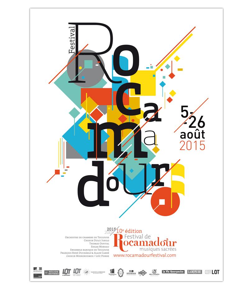 Affiche de lédition 2015 du festival de musiques sacrées de Rocamadour