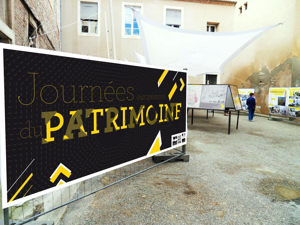 Reconstruire la ville sur la ville, aperçu de l'exposition le jour des journées européennes du patrimoine à Cahors