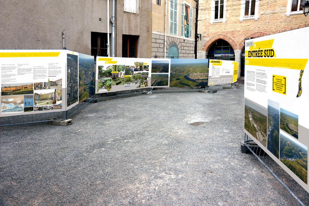 Reconstruire la ville sur la ville, aperçu des panneaux. Graphisme, Cahors, Leturcq Valla