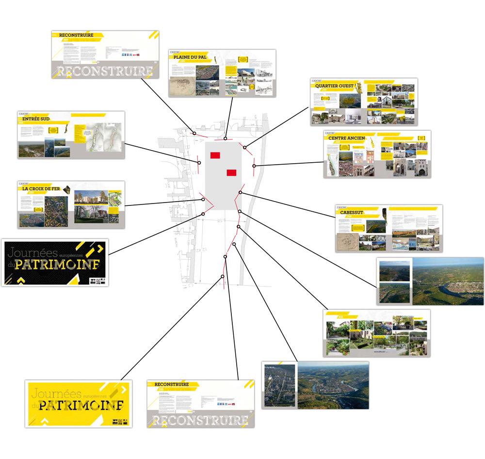Reconstruire la ville sur la ville, plan de montage de l'exposition dans la cours arrière de l'hôtel de ville de Cahors