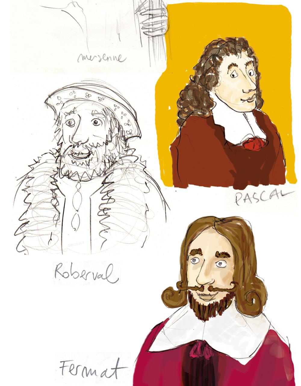 Récréa'Maths,Récréa'Maths, illustrations de grands mathématiciens du XVIIe siècle, Pascal, Roberval et Fermat