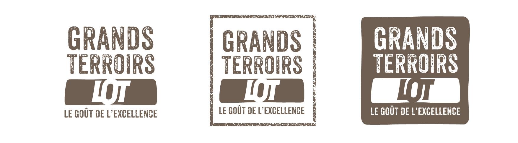 Déclinaison du logo Grands Terroirs, le goût de l'excellence.