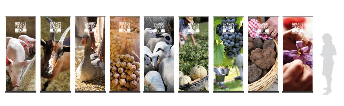 Les roll-up photos du Comité de promotion des produits du Lot