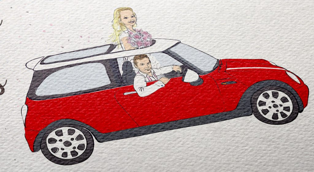 Illustration de Ann-So et Louis dans leur automobile