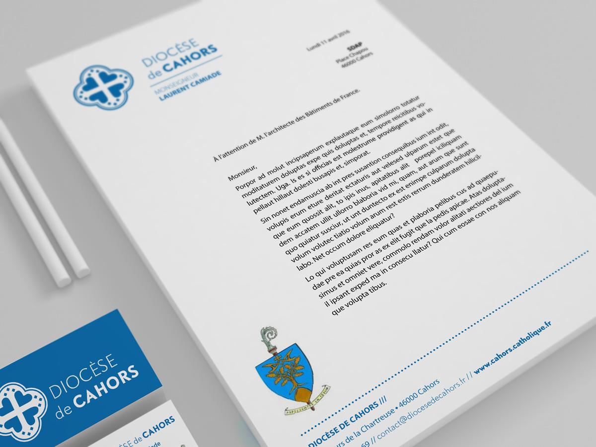 Papier en-tête prévu pour l'Évêque de Cahors, Monseigneur Camiade