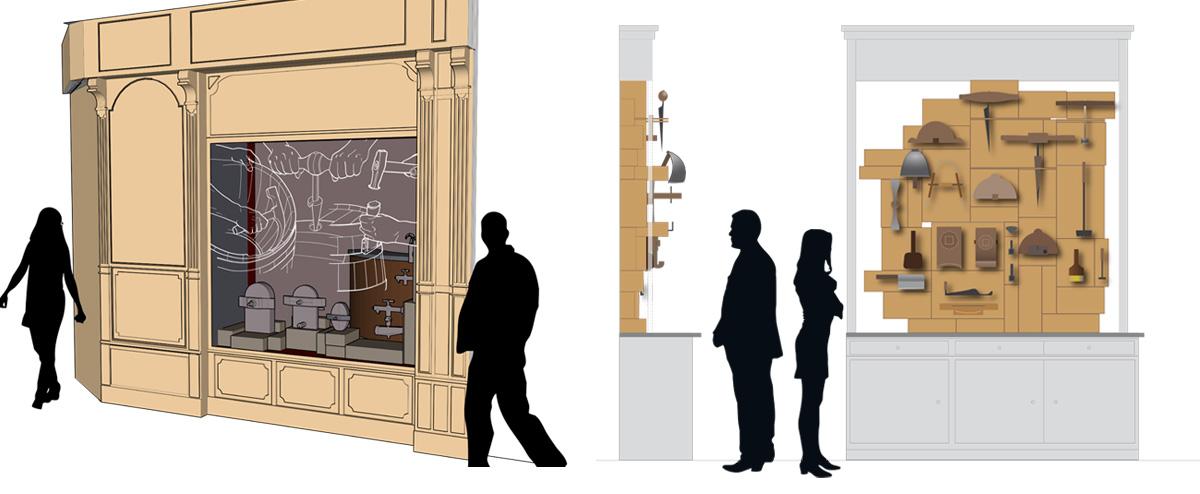 Projection de l'installation du Petit Musée de la Tonnellerie pour la boutique du Château Lagrezette à Toulouse