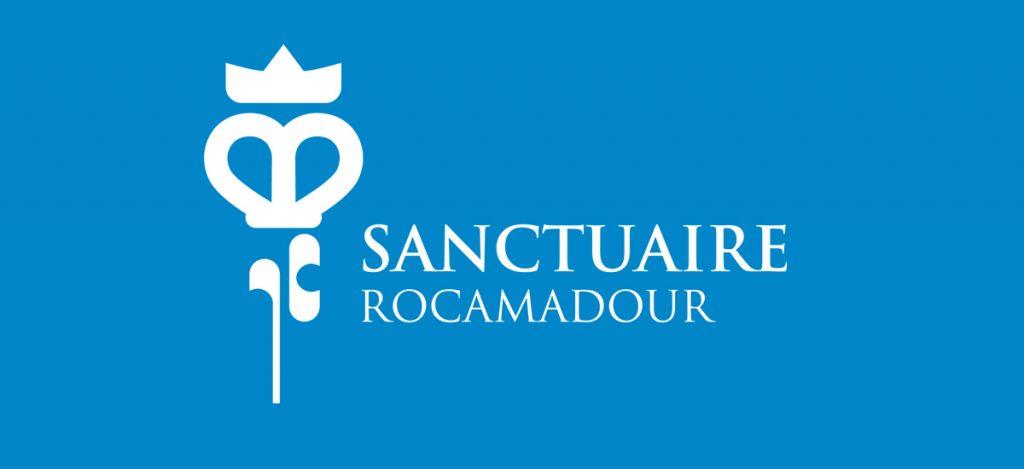 logo sur fond bleu du sanctuaire de Rocamadour