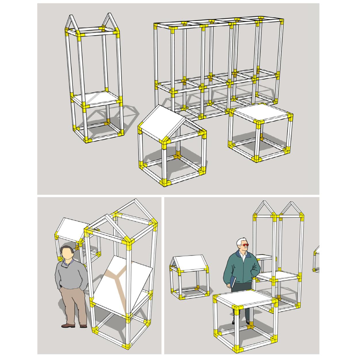 Principe de montage des modules constitutifs de l'exposition Bastides des villes neuves en quercy