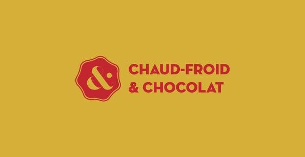 logo horizontale de Chaud Froid et Chocolats / moutarde