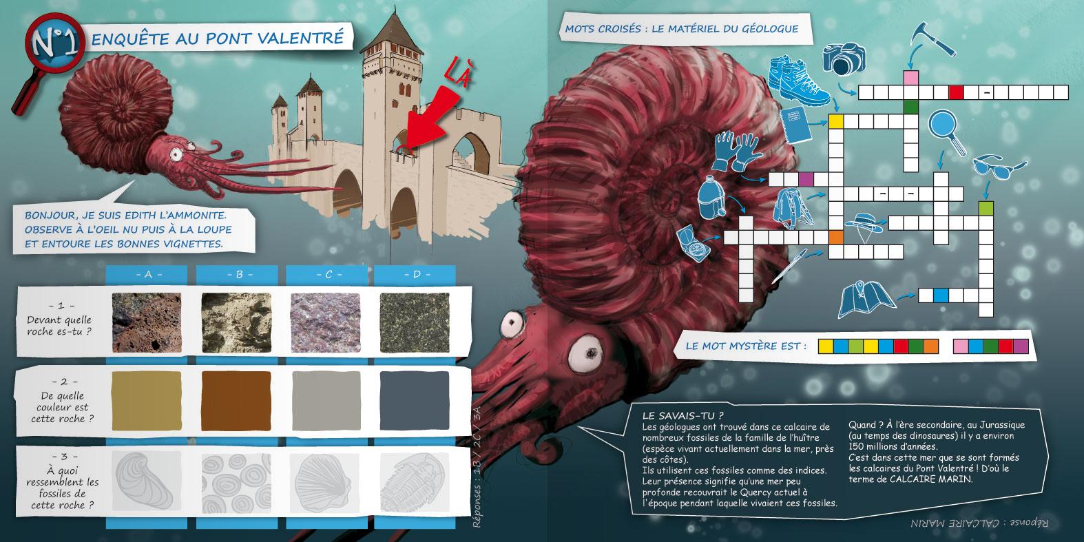 Enquête au Pont Valentré accompagnée par Édith l'ammonite.