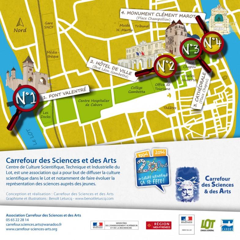 Plan de l'enquête géologique dans la ville de Cahors.