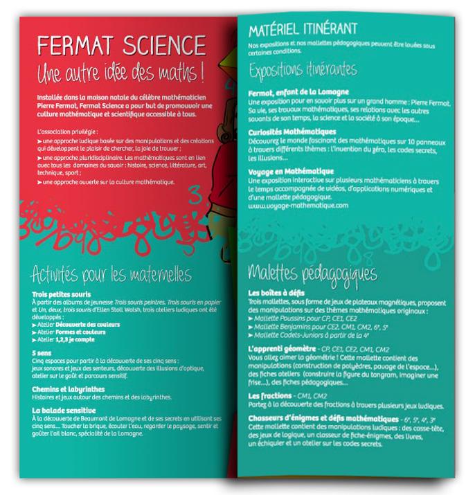 Dépliant activités Fermat Sciences spéciale scolaires, déploiement du premier volet