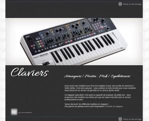 Page de présentation des claviers