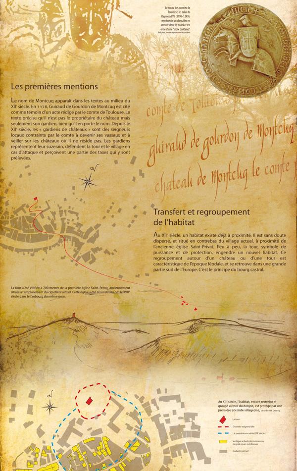"""fragments de panneaux de l'expo """"Montcuq au Moyen Âge, histoire d'une tour"""""""