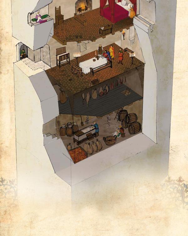 Éclaté de la tour de Montcuq habitée au Moyen Âge.