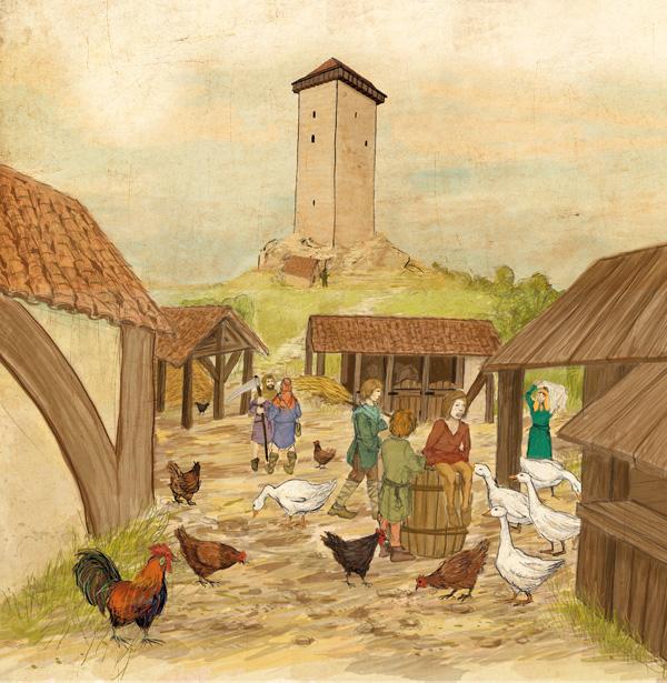 Les abords de la tour de Montcuq au Moyen Âge