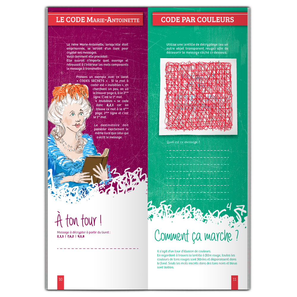 Code Marie Antoinette et code par couleurs, ateliers scientifiques illustrés