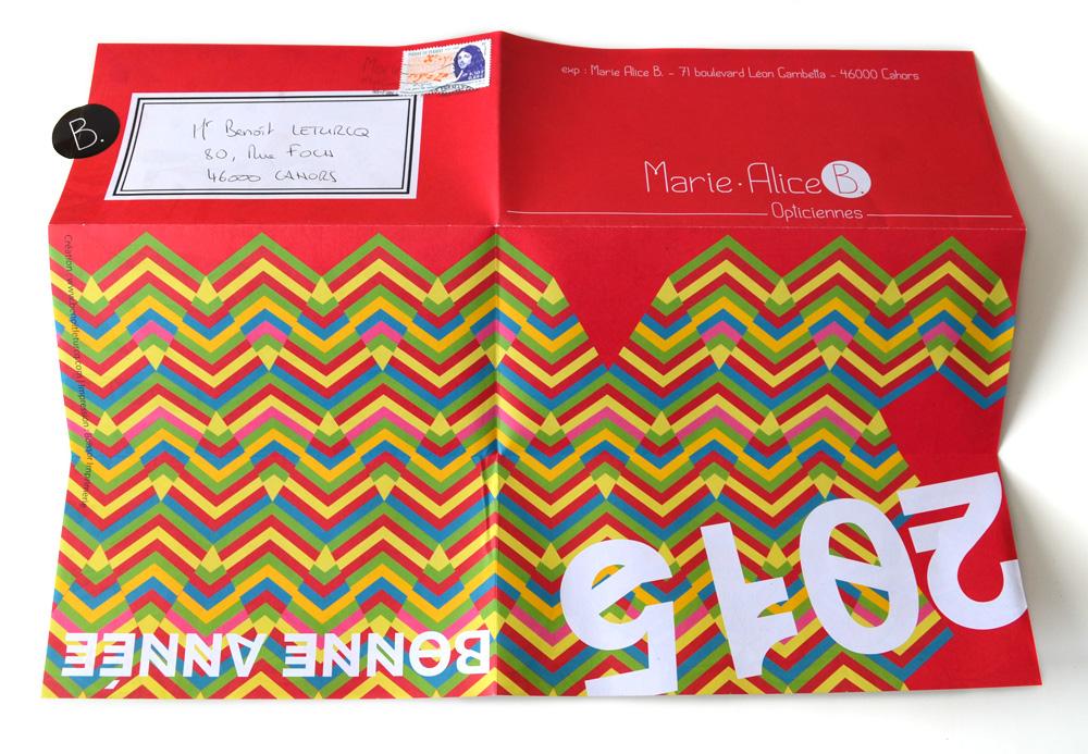 Dépliant-carte de vœux pour l'année 2015 des Opticiennes Marie Alice B à Cahors