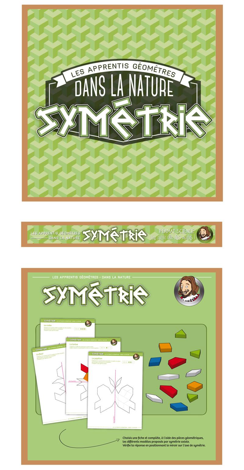 Visuel de la boîte du jeu symétrie, Les apprentis Géomètres.