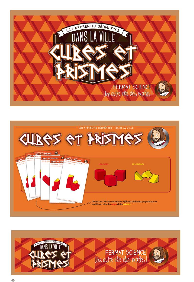 visuel de la boîte du jeu Cubes et Prismes, Les apprentis Géomètres.