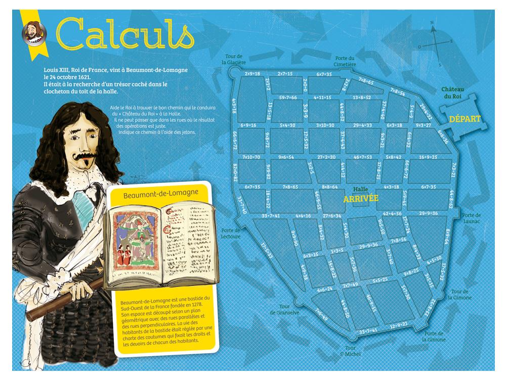 Récréa'Math, Récréa'Maths,  tablette sur les Calculs, illustration de Louis XV à Beaumont-de-Lomagne