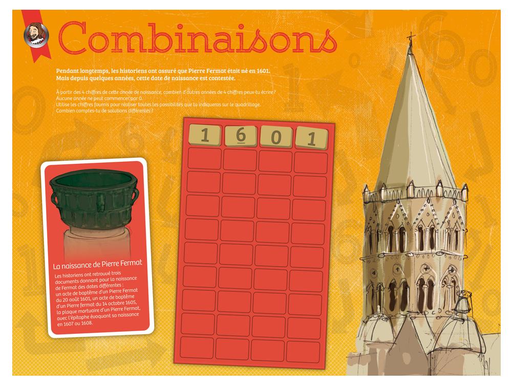 Récréa'Math, Récréa'Maths, tablette sur les Combinaisons, illustration du clocher de l'église de Beaumont-de-Lomagne