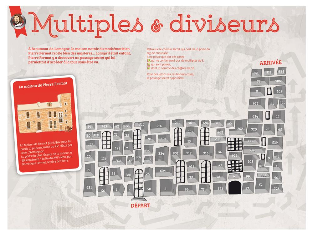 Récréa'Math, Récréa'Maths, tablette sur les Multiples et diviseurs, illustration de la Maison natale de Pierre Fermat