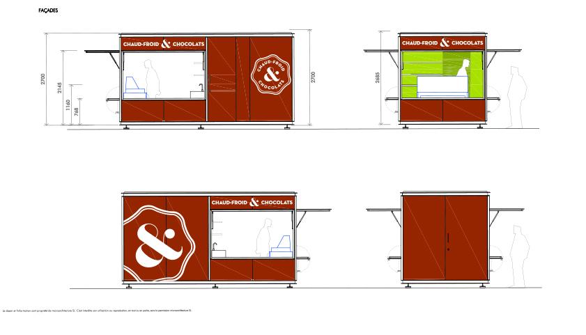 logo horizontale de Chaud Froid et Chocolats - marquage du pavillon Place Longemalle Genève, suisse